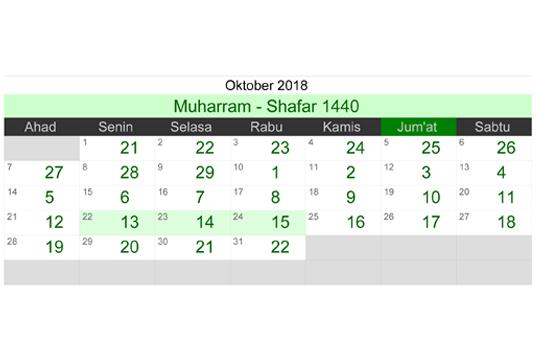 Kalender Islam ( Hijriyah ) Bulan Oktober Tahun 2018 M