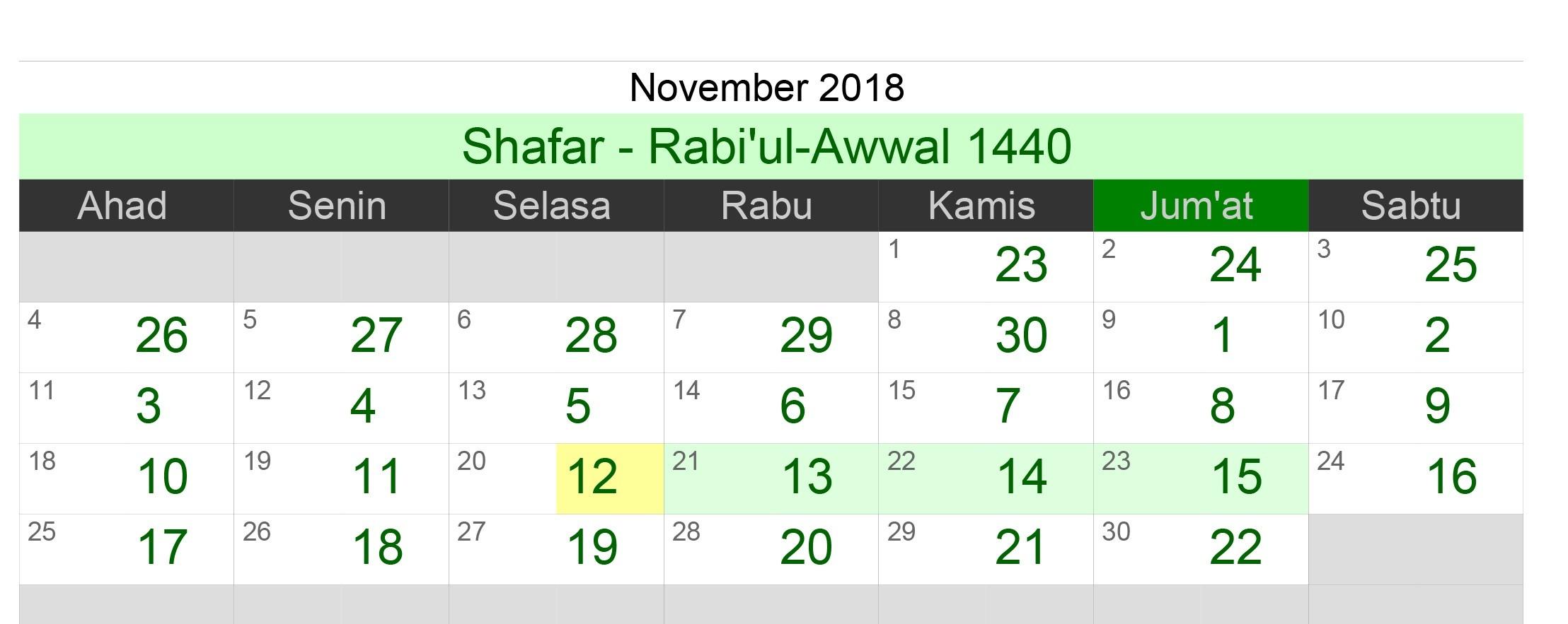 Kalender Islam ( 1440 Hijriyah ) Bulan November   Tahun 2018 M
