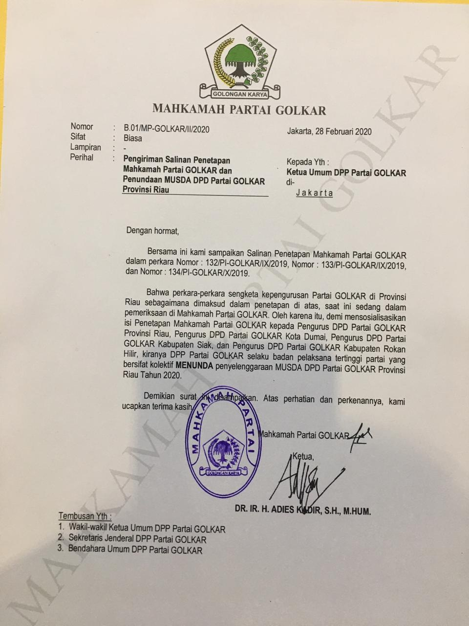 MUSDA GOLKAR  BREAKING NEWS: Ini Kata DPP soal Musda Golkar Riau Dibatalkan