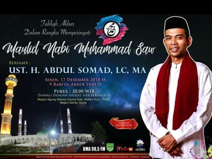 Maulid Nabi Besar Muhammad. SAW di Masjid Islamic Center Kabupaten Rokan Hulu