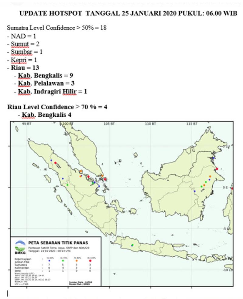 HOTSPOT RIAU 13 Hotspot Tersebar di Riau, Terbanyak di Bengkalis