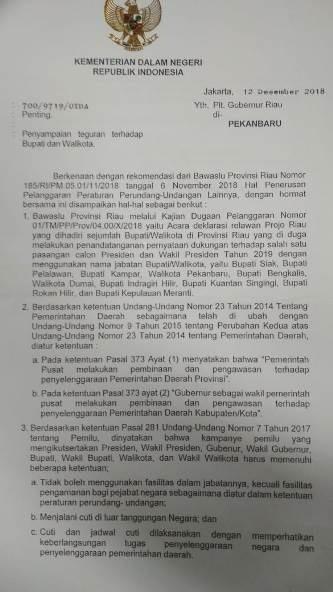 Mendagri Minta Gubri Tegur 10 Kada di Riau Dukung Jokowi