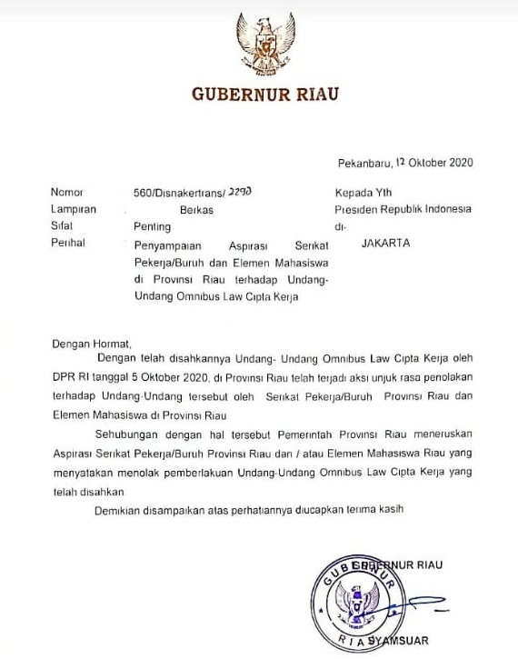 Gubri Kirim Surat ke Presiden